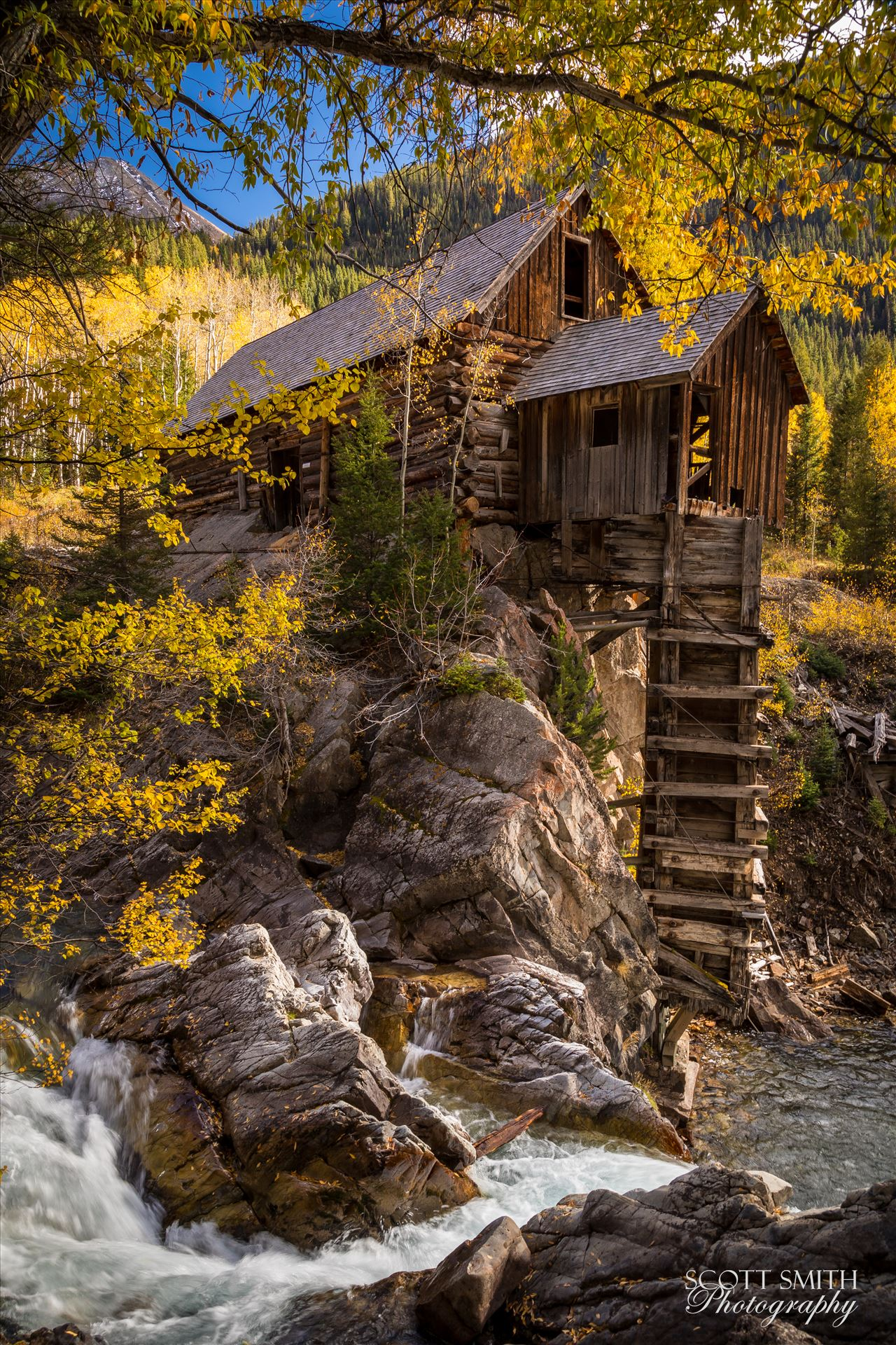 Crystal Mill No 2 - The Crystal Mill, or the Old Mill is an 1892 wooden powerhouse located on an outcrop above the Crystal River in Crystal, Colorado by D Scott Smith