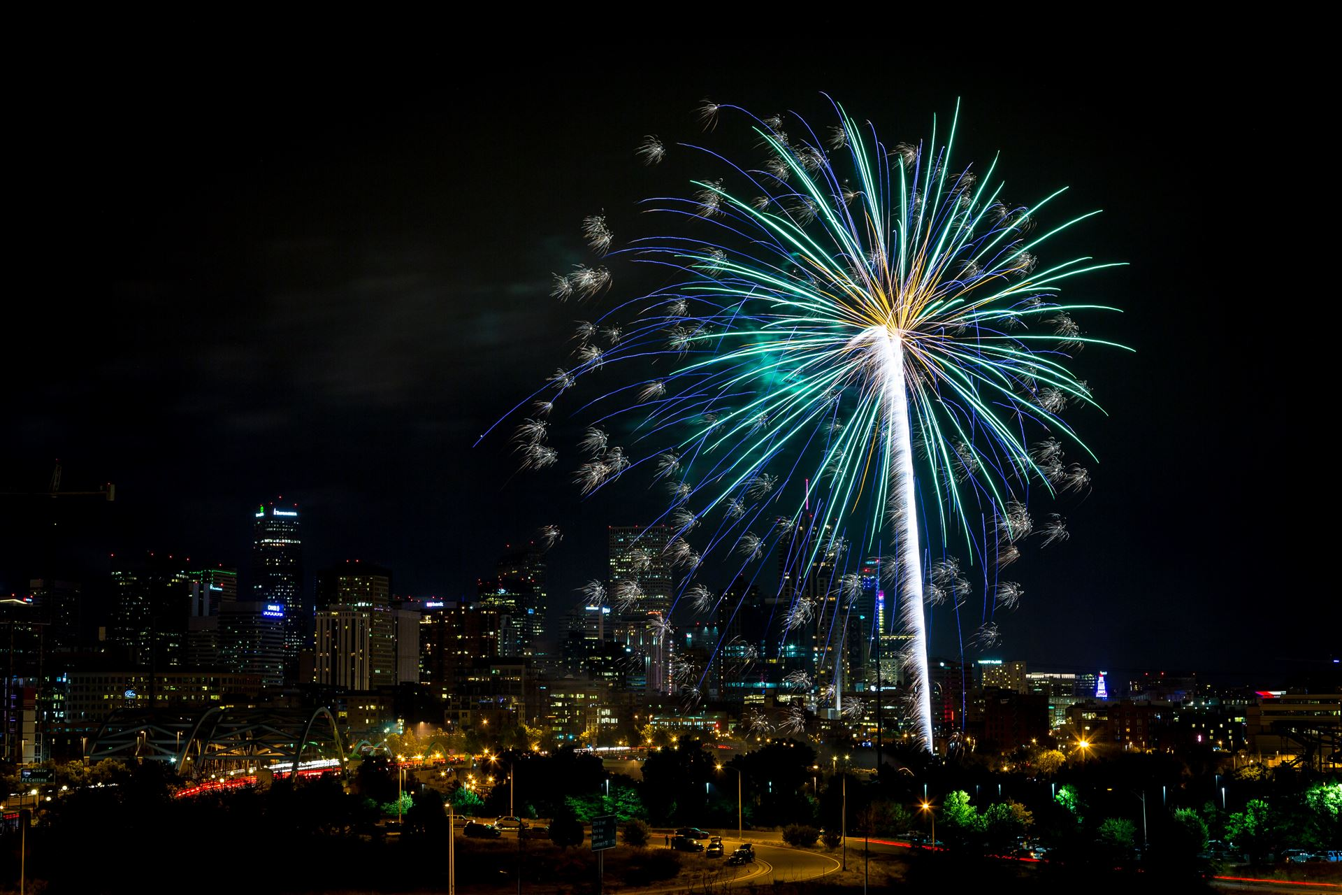 Elitch's Fireworks 2016 - 11 - Fireworks from Elitch Gardens, taken near Speer and Zuni in Denver, Colorado. by D Scott Smith