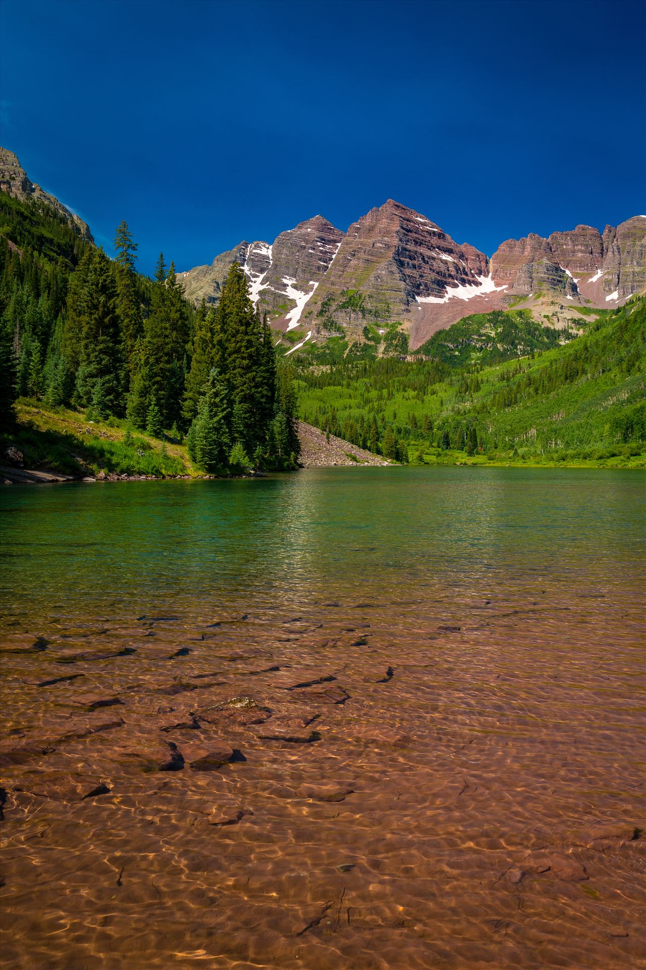 Maroon Bells in Summer No 06 -  by D Scott Smith