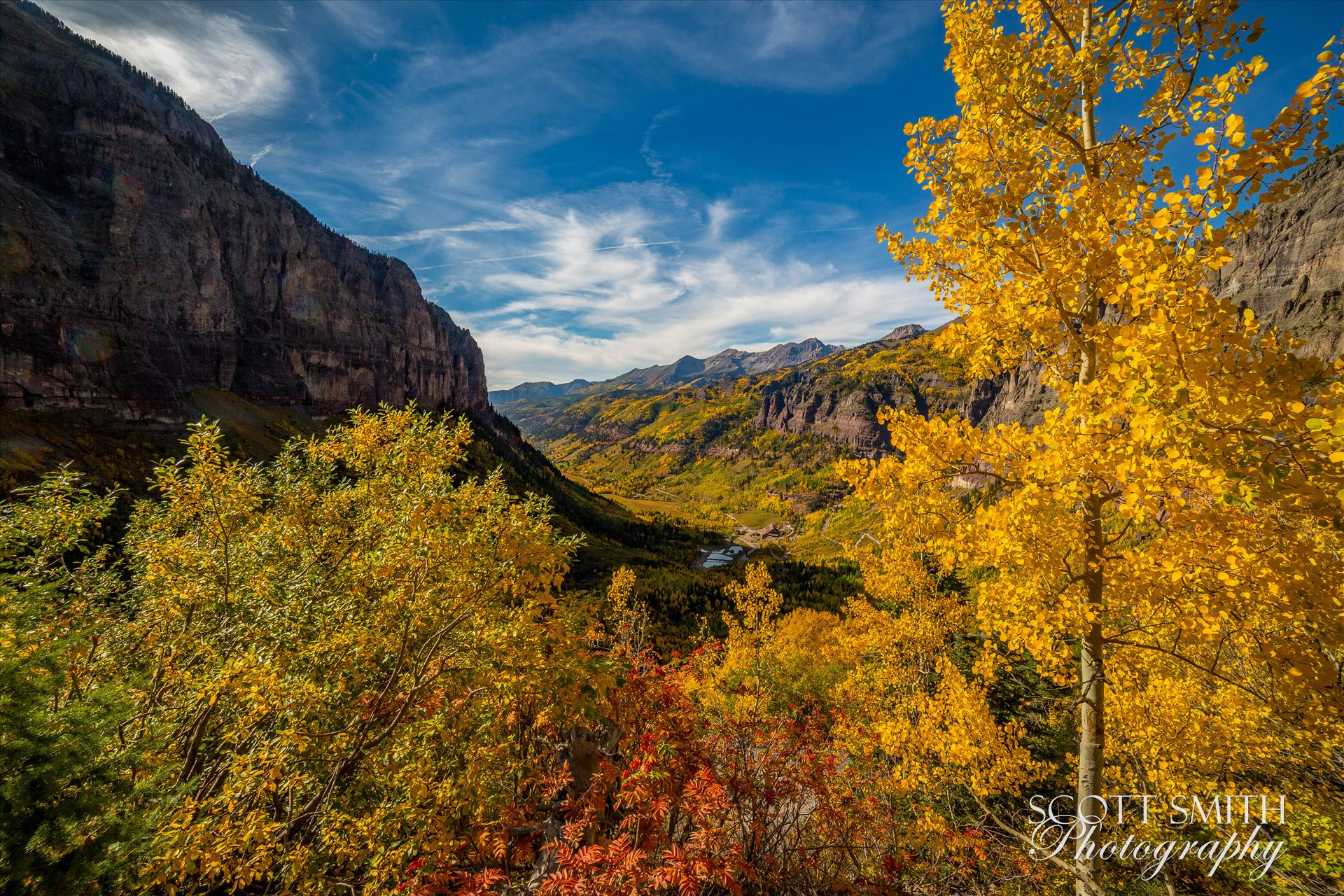 Telluride 3 - The beautiful town of Telluride from the Black Bear 4x4 trail near Bridal Veil Falls. by D Scott Smith