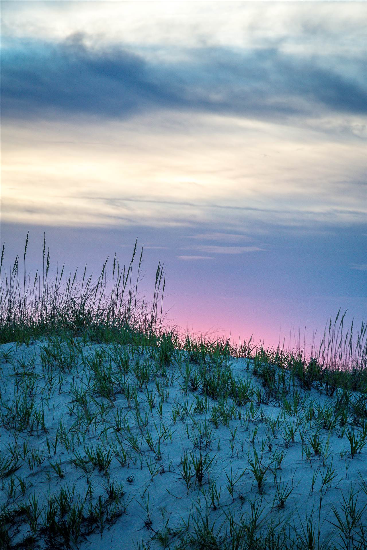 Dune Sunset - The sun sets over the dunes in the outer banks, Corolla, North Carolina. by D Scott Smith