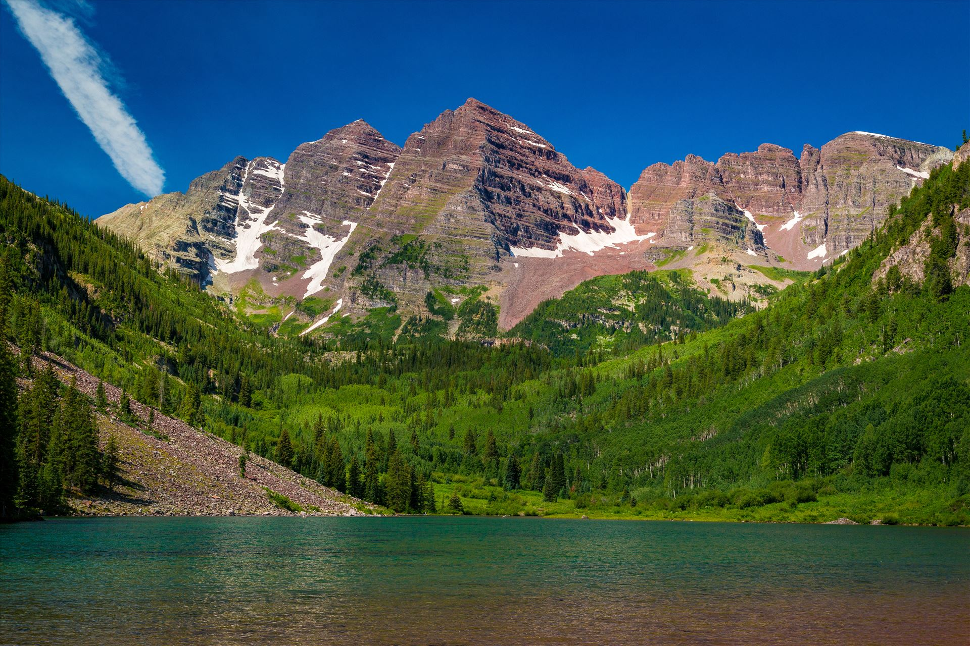 Maroon Bells in Summer No 04 -  by D Scott Smith