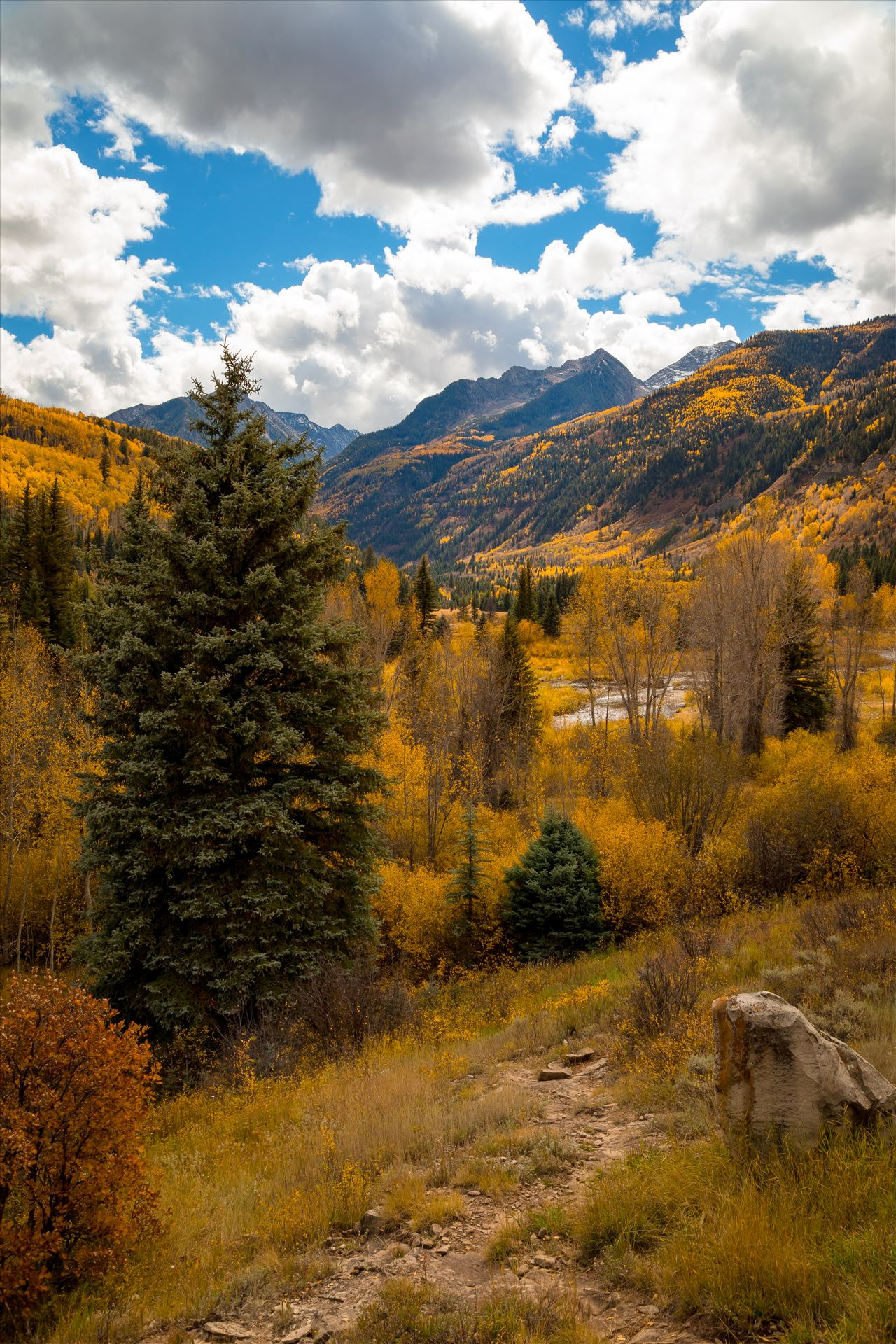 Fall Hiking Near Redstone, Colorado - A trailhead between Marble and Redstone, Colorado. by D Scott Smith