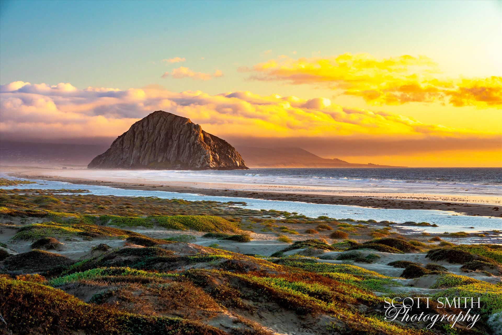 Morro Bay at Sunset - Morro Rock, in Morro Bay at sunset. by D Scott Smith