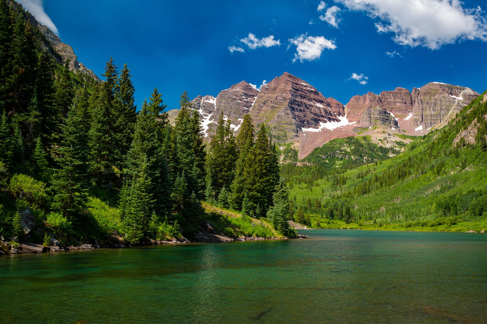 Maroon Bells in Summer No 11 -  by D Scott Smith