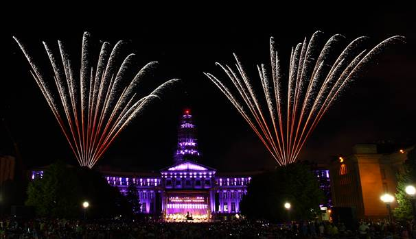 Fireworks over the Denver County Courthouse displayed along with a performance from the Denver Symphony.