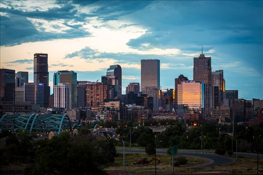 The Denver, Colorado skyline as the sun sets.