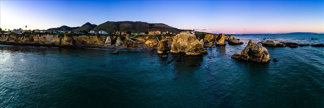 Aerial of Shell Beach No 3, California - Near sunset, at Shell Beach, California.  Composite of 21 high res images from a Phantom 4 Pro.  This is a super high resolution image at over 16k by 4k pixels.