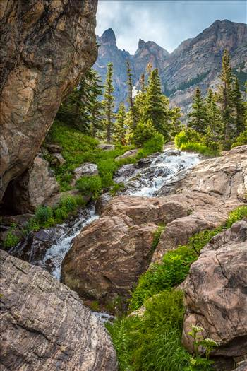 A waterfall, part way up to Lake Emerald, on Bear Lake Trail, Rocky Mountain National Park