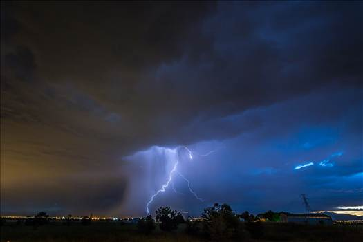 A series of shots from the end of the street, during a powerful lightning storm near Reunion, Colorado.