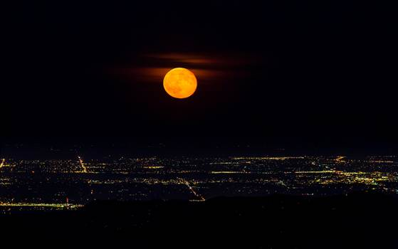 The supermoon from the Goliath Wilderness Area, Mt Evans. Looking towards Englewood and Littleton, Colorado.