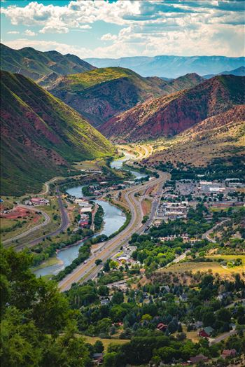 Looking down from the top of Glenwood Caverns, the city of Glenwood Springs, Colorado looks miniature.