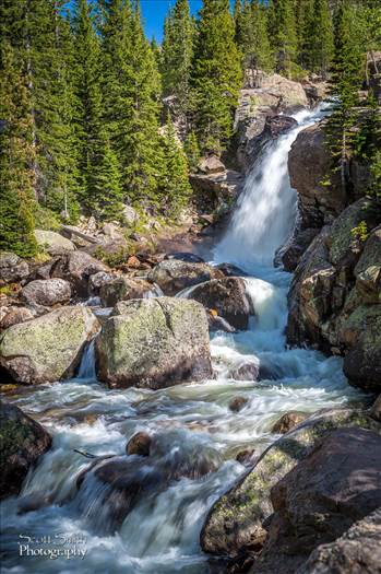 Another view of Alberta Falls in Rocky Mountain National Park, with more attention to the turbulent water below.