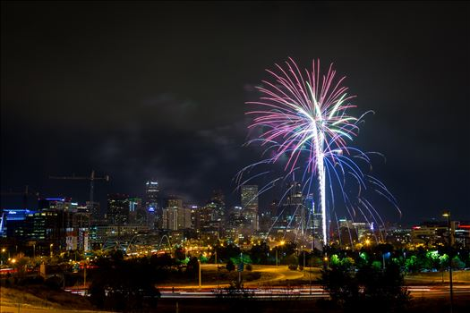 Fireworks from Elitch Gardens, taken near Speer and Zuni in Denver, Colorado.