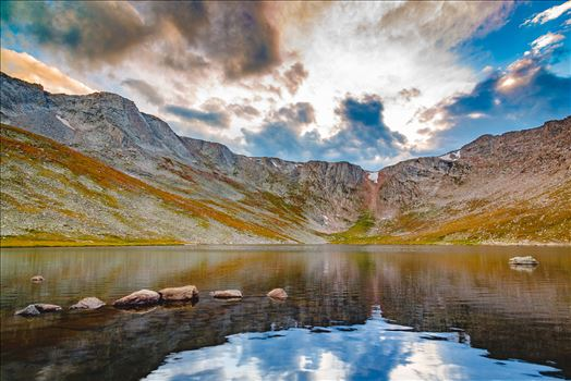 Summit Lake at sunset, near the summit of Mt Evans, Colorado.