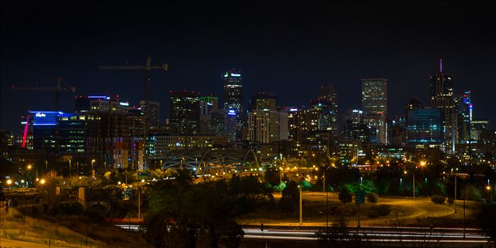 The Denver, Colorado skyline at night.