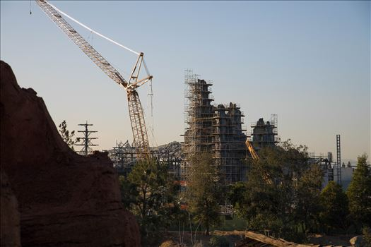 A rare photo of construction progress of the new Star Wars Galaxy's Edge park at Disneyland.