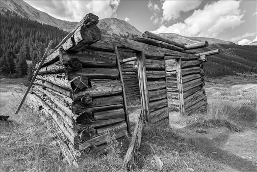A collapsing cabin in the ghost town of Independence, Colorado.