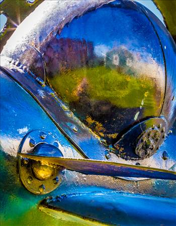 Close-up of an abstract sculputure in Langley, Washington. 'Star Chaser 2' by John Moritz.
