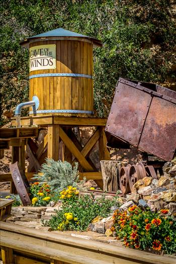 A rustic display outside the entrance to the Cave of the Winds in Manitou, Colorado.