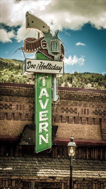 The famous sign for the Doc Holliday Tavern in Glenwood Springs