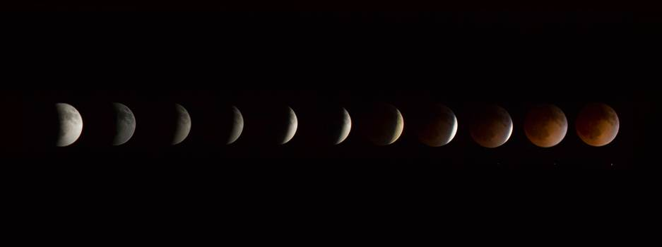 Lunar eclipse and blood moon, 4/15/2014.  Shot as separate frames with a 100mm Canon f/2.8 and assembled in Photoshop.