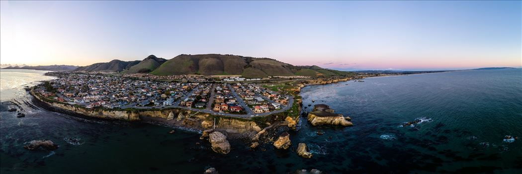Near sunset, at Shell Beach, California.  Composite of 21 high res images from a Phantom 4 Pro.  This is a super high resolution image at over 16k by 4k pixels.