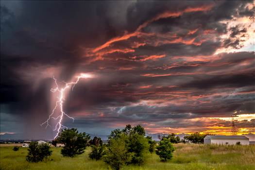 Sunset and the beginning of a major lightning storm, east of Denver, Colorado.