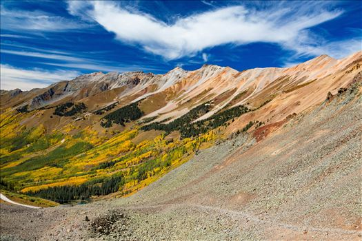 Just west of the Ophir Pass summit, between Ouray and Silverton Colorado in the fall.