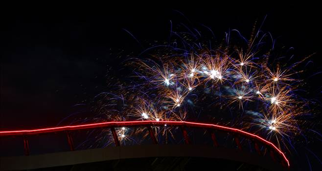 Fireworks over Mile High Stadium