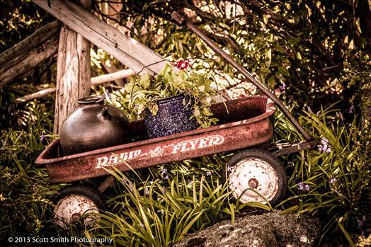 A vintage, decorated Radio Flyer in Langley, Washington.