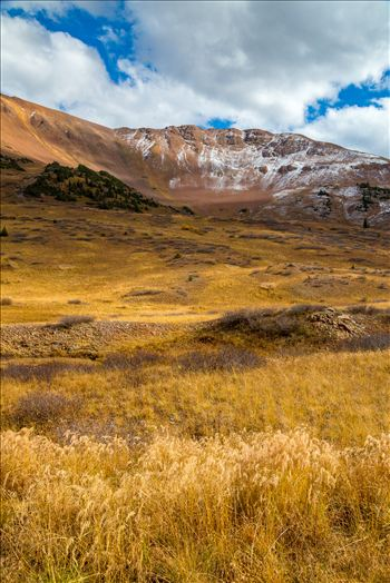 Snow and fall grasses on the peaks at the Mount Baldy Wilderness area, near the summit. Taken from Schofield Pass in Crested Butte, Colorado.