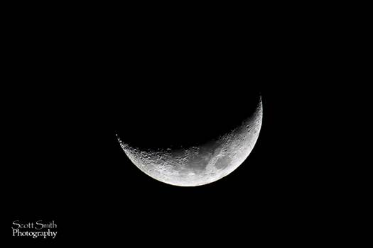 The craters on the moon pronounced much more when side-lit during the crescent phase.