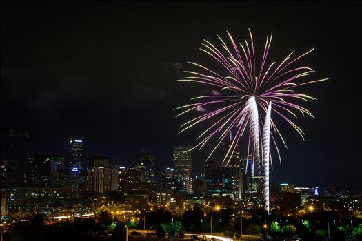 Fireworks from Elitch Gardens, taken near Speer and Zuni in Denver, Colorado.