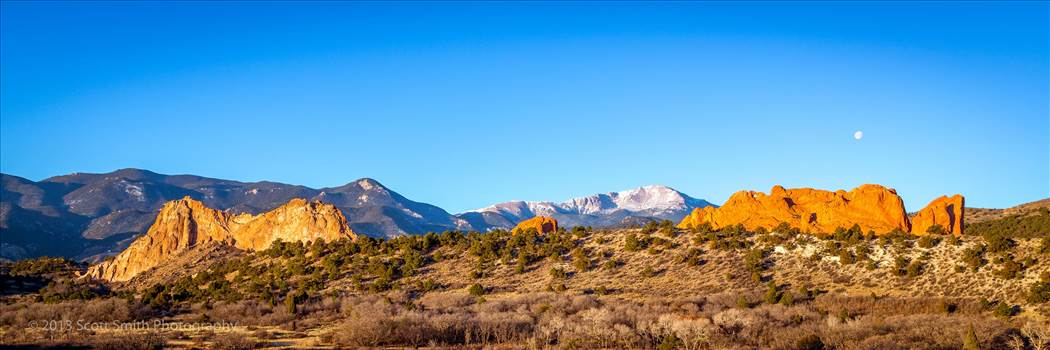 The rising sun hits the Garden of the Gods in Manitou, Colorado.