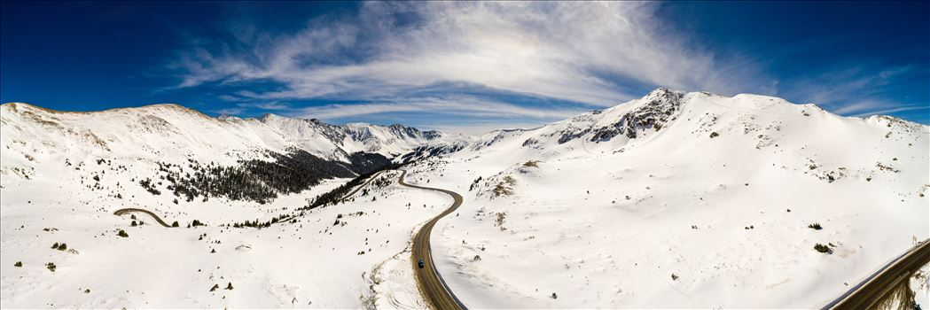 Loveland Pass, Colorado - A panoramic aerial photo of Loveland Pass, Colorado, made up of 21 separate photos.