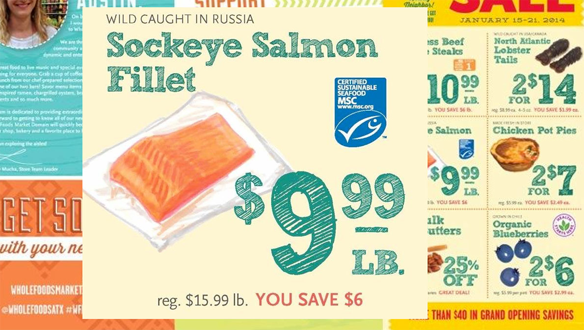 Russian sockeye salmon advertised at a Whole Foods Market