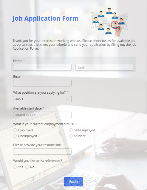 online job application form sample