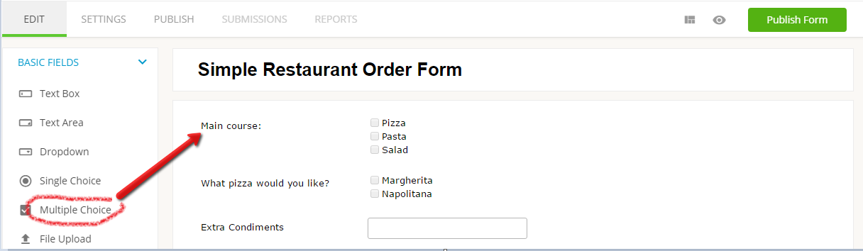 adding multiple choice field to web form