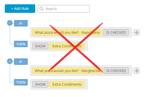 how not to add rules to web form