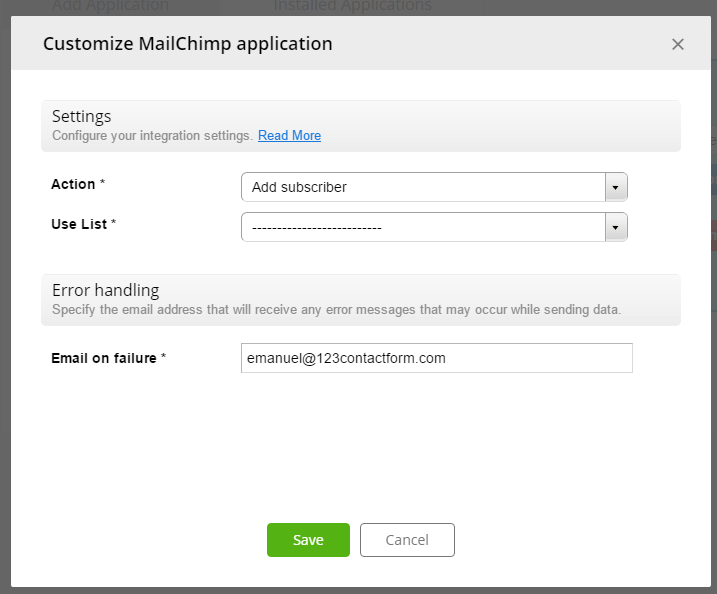customizing mailchimp settings for 123formbuilder