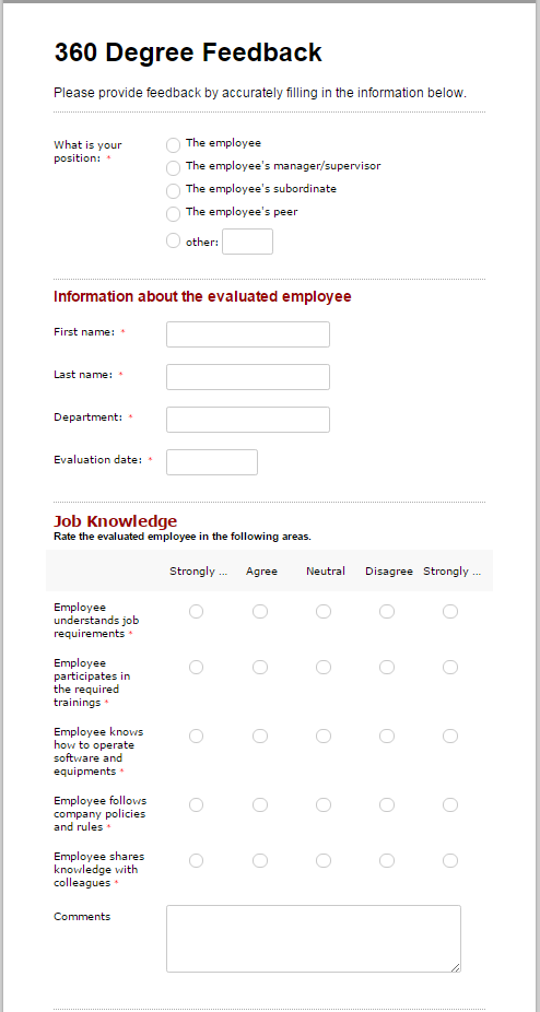 Evaluate team performance with a 360 degree feedback form for 360 degree performance review template