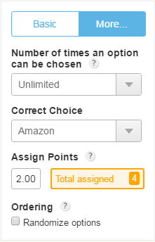 assign points to quiz form