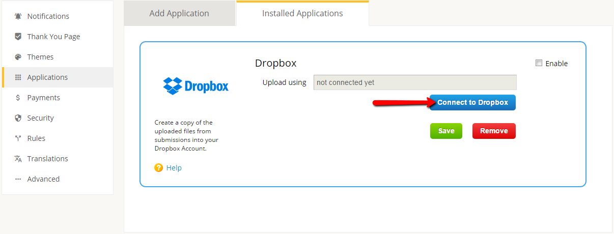 connect dropbox to file upload form