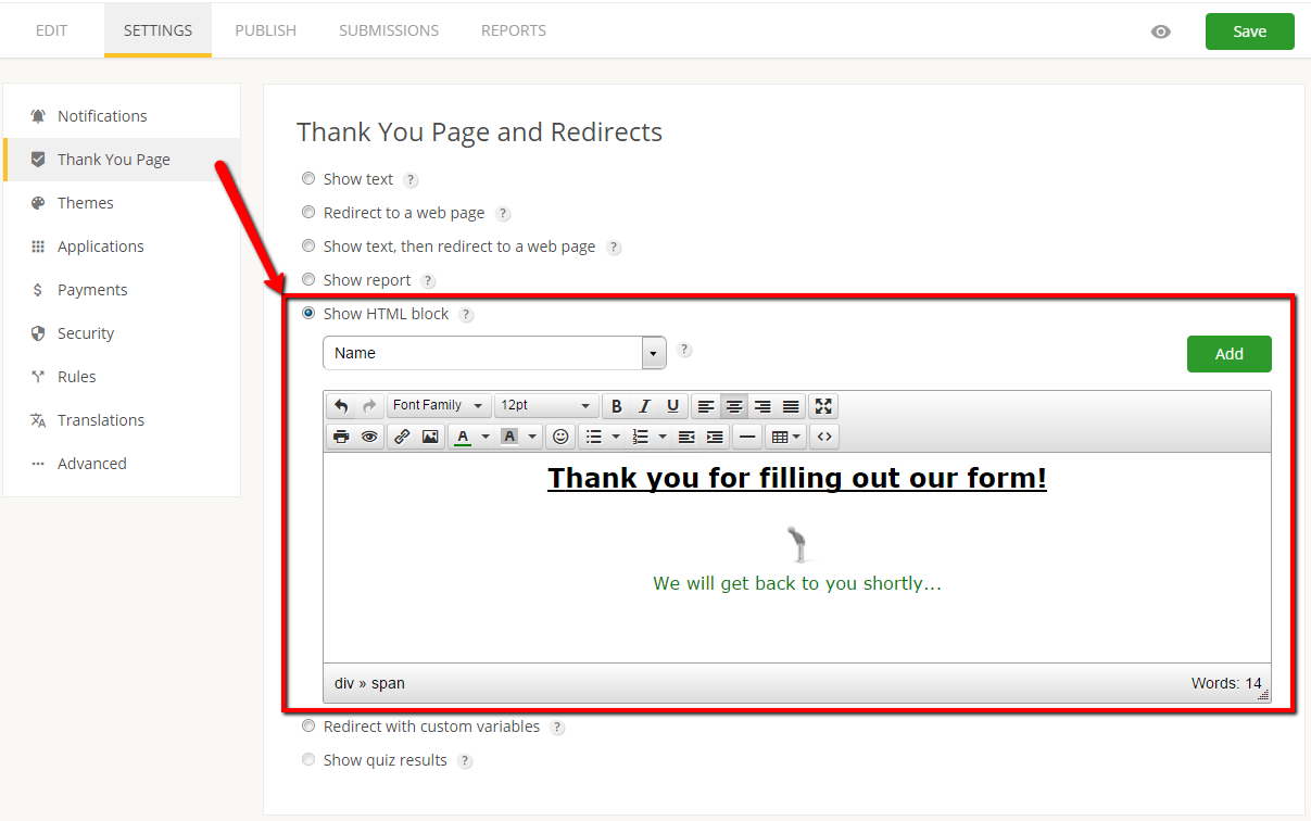customizing thank you page for form