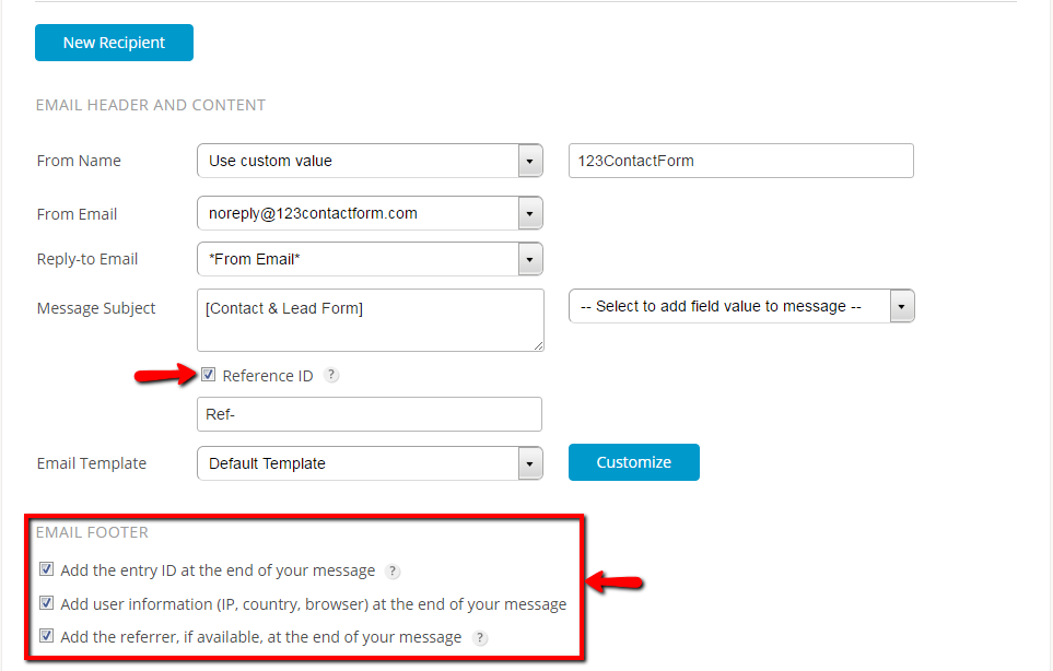 advanced email notifications for forms - reference id and email footer settings