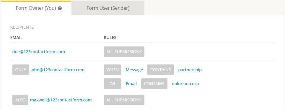 multiple email notifications for web form