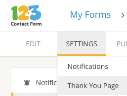 setting up a thank you message for a form on 123ContactForm