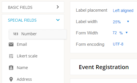 adding a number field to the 123formbuilder form editor