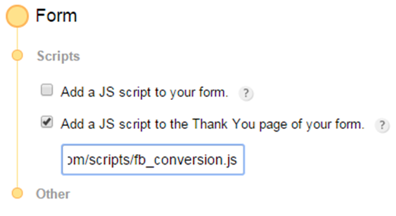 adding facebook conversion js to the thank you page of the web form